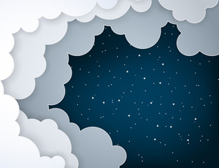Paper art fluffy clouds and shining stars in midnight. Modern 3d origami paper art style. Vector illustration, dark night sky