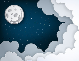 Paper art full moon, rays, fluffy clouds and stars in midnight. Modern 3d origami paper art style. Vector illustration, dark night sky