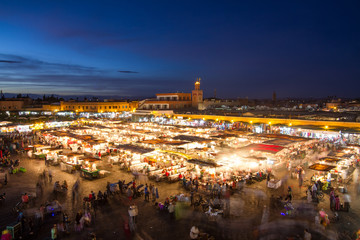 Jamaa el Fna market square at dusk, Marrakesh, Morocco, north Africa. Jemaa el-Fnaa, Djema el-Fna or Djemaa el-Fnaa is a famous square and market place in Marrakesh's medina quarter.