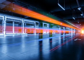 abstract image of blur motion of cars on the city road