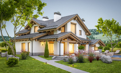 3d rendering of modern cozy house in chalet style Wall mural