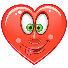 Cartoon red Heart. Emoticons. Smiley. Emoji. Love Emotion symbol. Design element for Valentines Day greeting card, kids coloring book page, t-shirt print, icon, logo, label, patch, sticker.