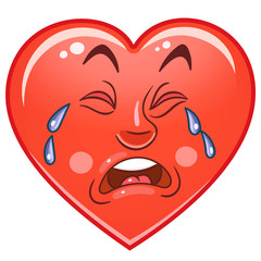 Cartoon red Heart Cry. Emoticons. Smiley. Emoji. Sad Emotion symbol. Design element for Valentines Day greeting card, kids coloring book page, t-shirt print, icon, logo, label, patch, sticker.