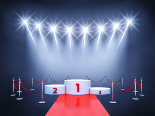 Sport competition winner's podium , red carpet and spotlights , Award ceremony