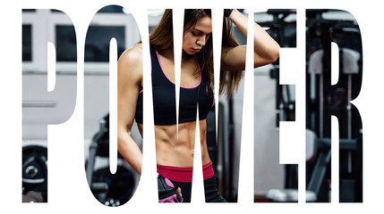 Athletic young woman showing muscles after workout in gym. Motivation sign.