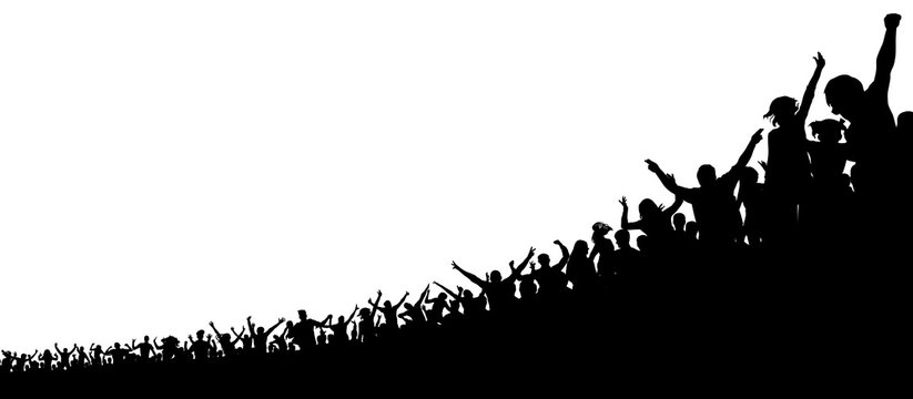 A crowd of sports fans. A crowd of people in the stadium. Silhouette vector