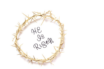 Easter He is Risen Quote isolated on white background with Crown of Thorns