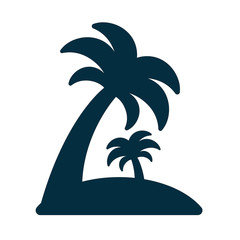 island with palm trees icon