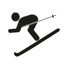 Skier, black icon on white background. Vector illustration