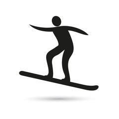 Skier, black icon on white background. Vector icon