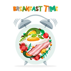 Breakfast menu vector design. Fried eggs, bacon, avocado, tomato, seasoning on plate with alarm clock. Breakfast time concept. Food illustration isolated on white background.