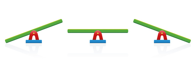 Seesaw - colored balance toy set - three positions, balanced and unbalanced, equal and unequal weightiness - isolated vector illustration on white background.