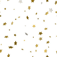 Seamless pattern with stars. Gold stars for your design. 3d golden stars concept. Vector illustration.