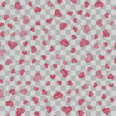 -2Seamless pattern with red handdrawn hearts on transparent background. Vector