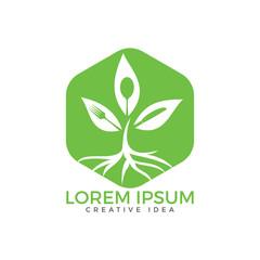 Healthy Food Logo. Vegetarian food symbol. Creative logo design concept for healthy products.