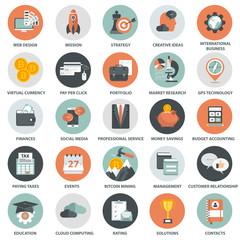 Business, management, finances and technology icon set. Flat vector illustration