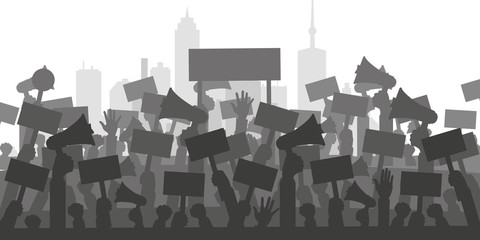 Protests and demonstrations concepts. Flat vector illustration