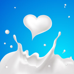 milk splash and white milk heart  - vector illustration
