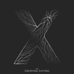 Vector letter X of branch or cracked alphabet. X symbol consisting of growing white lines. Fractured letters. Lighting silhouet of capital letters. Abstract font.