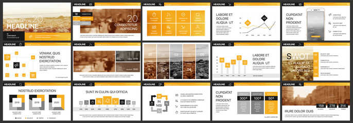 Orange presentation templates elements on a white background. Vector infographics. Use in Presentation, flyer and leaflet, corporate report, marketing, advertising, annual report, banner. Wall mural