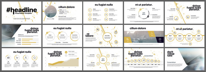 Yellow presentation templates elements on a white background. Vector infographics. Use in Presentation, flyer and leaflet, corporate report, marketing, advertising, annual report, banner. Wall mural