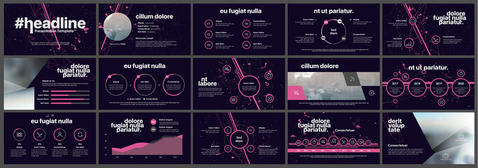 Pink presentation templates elements on a black background. Vector infographics. Use in Presentation, flyer and leaflet, corporate report, marketing, advertising, annual report, banner.
