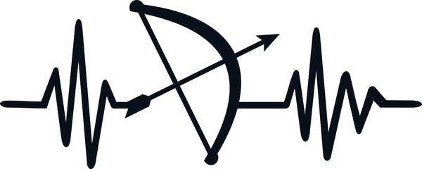 Archery heartbeat line with german job title