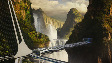 Futuristic bridge over a precipice in mountains with waterfalls. Viaduct.