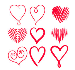 Set Hand drawn hearts. Design elements for Greeting Cards
