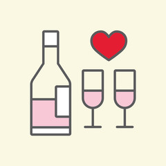 pink wine bottle with glasses line flat icon on yellow backgroun