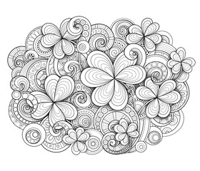 Monochrome Doodle St Patrick's Day Background. Decorative Clover Leaf Talisman, Abstract Coins and Swirl. Elegant Natural Motif. Coloring Book Page. Vector 3d Illustration. Ornate Art