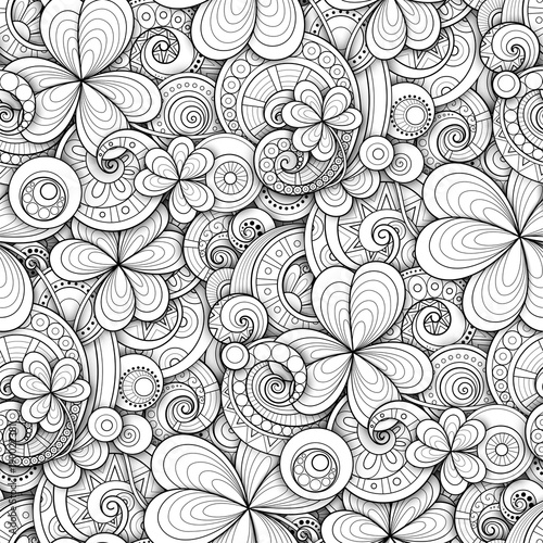 Monochrome Doodle St Patricks Day Seamless Pattern Decorative Clover Leaf Talisman Abstract Coins And
