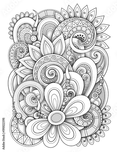 Monochrome Floral Design Background In Doodle Line Style Decorative Composition With Flowers And Leaves