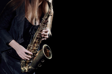 Photo sur Aluminium Musique Saxophone Player Saxophonist playing jazz music. Sax player