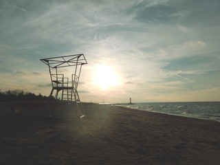Lake Huron beach during winter sunset in Grand Bend Ontario Canada