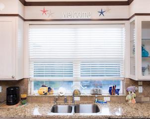 Kitchen sink in ocean home