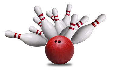Red Ball Hitting Pins in Bowling Strike Isolated on White Background
