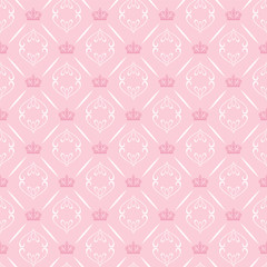 Seamless pattern with crowns in royal style on a pink background