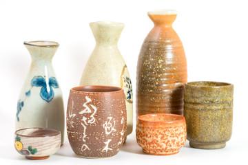 Isolated Japanese Sake drinking and Vase set
