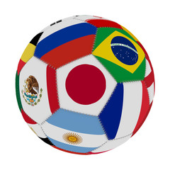 Soccer ball with the color of the flags of the countries participating in the world on football, in the middle Japan, Mexico, Russia, Brazil, France and Argentina , 3D rendering.