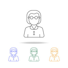 Teacher woman avatar multicoloured icons. Element of profession avatar of for mobile concept and web apps. Thin line  icon for website design and development, app development