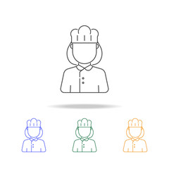 woman cook avatar multicoloured icons. Element of profession avatar of for mobile concept and web apps. Thin line  icon for website design and development, app development
