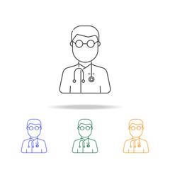 Doctor avatar multicoloured icons. Element of profession avatar of for mobile concept and web apps. Thin line  icon for website design and development, app development