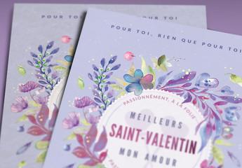 Composition de carte de Saint-Valentin fleurie au pinceau