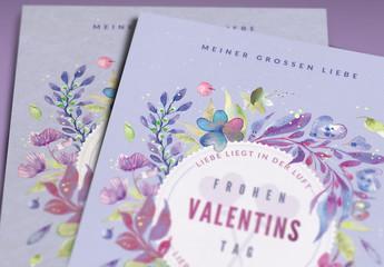 Gemaltes Blumenlayout für eine Valentinstagskarte