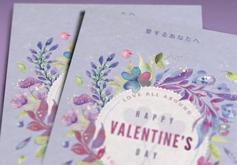 花柄のバレンタインデーカードレイアウト(絵画風)