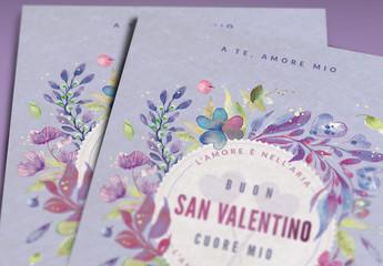 Layout per biglietto d'auguri dipinto con fiori per San Valentino