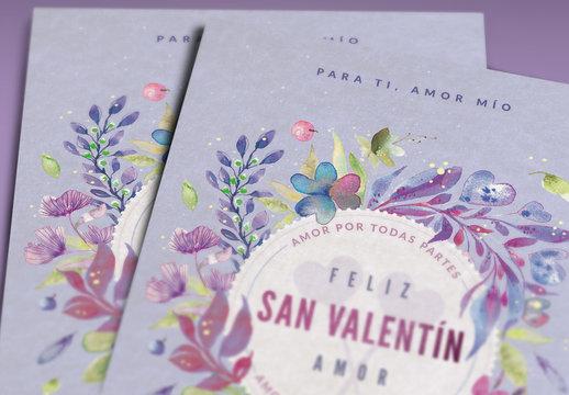 Diseño de tarjeta floral pintada del día de San Valentín