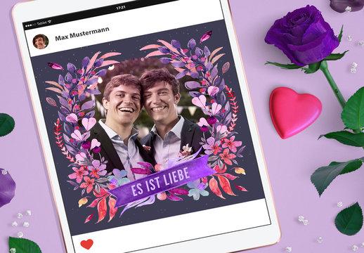 Digitales Aquarell-Layout zum Valentinstag
