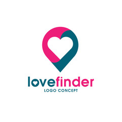 love pin logo, love finder logo, Love placeholder with heart icon vector,Romantic date location symbol, logo illustration.